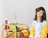 Girl with curled bangs Royalty Free Stock Image