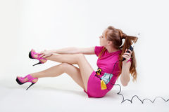 Girl with curling Stock Photo