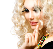 Girl with Curly Blond Hair royalty free stock image