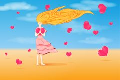 Girl with curly hair and flying hearts Royalty Free Stock Images