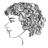 Girl With Curly Hair Ink Drawing Stock Image