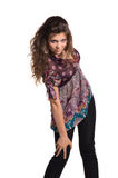 Girl with curly hair in motion Stock Photography