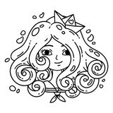 Girl with curly hair. Sea girl. Girl with blue hair. Paper boat. Isolated objects on white background. Vector illustration. Colo vector illustration