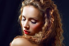 Girl Curly Red Hair Stock Photography