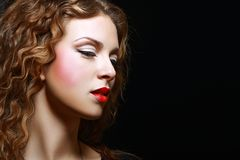 Girl Curly Red Hair Stock Photo
