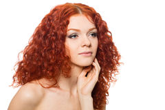 Girl with curly red hair Royalty Free Stock Photos