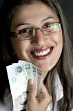 Girl with currency Stock Photography