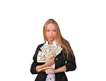 Girl and currency, money Royalty Free Stock Images