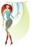 Girl - curtain seller. Illustration of fasion girl. Curtain seller Stock Images