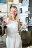 Girl customer in bijouterie shop Stock Photo