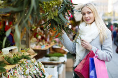 Girl customer choosing eucalyptus Stock Image