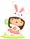 Girl in Cute Easter Bunny Costume Stock Image