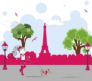 Girl with cute little dog in paris. vector Stock Image