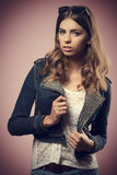 Girl with cute modern casual style Royalty Free Stock Images