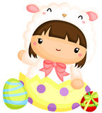 Girl in Cute Sheep Easter Egg Costume Royalty Free Stock Photos