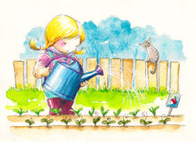 Girl. Cute girl watering her garden.Watercolors illustration Royalty Free Stock Photography