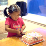 Girl Cutting Birthday Cake. A girl is cutting her birthday cake Stock Photos