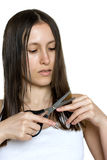 Girl cutting hair royalty free stock photos