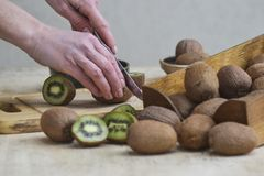 A girl is cutting ripe kiwi. Demonstration of fruit. stock photography