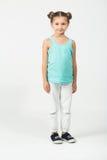 Girl in a cyan t-shirt, Stock Image