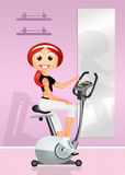 Girl on cyclette. Illustration of girl on cyclette Royalty Free Stock Photography