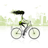 Girl cycling in the city stock illustration