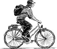 Girl cyclist. The vector image of the  woman by bicycle Royalty Free Stock Photos