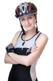 Girl cyclist  on white Royalty Free Stock Photo