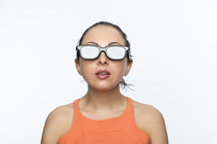 Girl with 3D glasses Royalty Free Stock Images