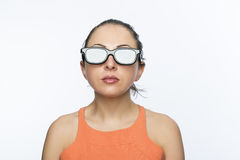Girl with 3D glasses Royalty Free Stock Image