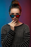 Girl in 3D glasses. Studio photography Royalty Free Stock Photography