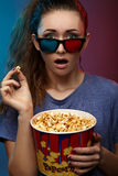 Girl in 3D glasses. Studio photography Royalty Free Stock Images