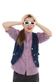 Girl in 3-D glasses Stock Images
