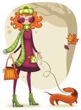 girl with dachshund stock illustration