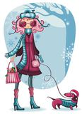 Girl With Dachshund. Winter vector illustration