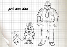 Girl with dad. The girl with the cat next to father figure on notebook sheet Stock Photography