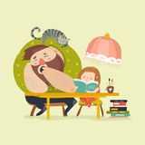 Girl with Dad doing homework vector illustration