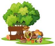 Girl and dad planting the tree. Illustration stock illustration