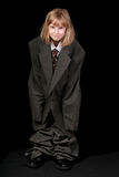 Girl in Dad's Business Suit Stock Image