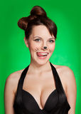 The girl with dairy moustaches was licked Royalty Free Stock Photography