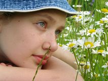 Girl with daisies 1 Stock Photo