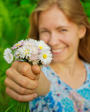 Girl with daisies Stock Image