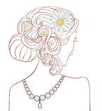 Girl with daisies in her hair. Vector illustration Stock Photo