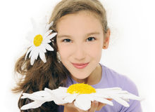 Girl with daisy Stock Photography