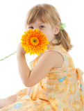 Girl with daisy Stock Photo