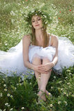Girl with daisy crown Stock Photography