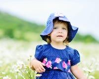 Girl in daisy field Stock Photos