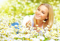 Girl on daisy glade Stock Images
