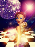 Girl on dance floor Stock Image