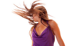 Girl dance with long hair Stock Photos